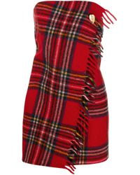 MARINE SERRE チェック ラップドレス Red
