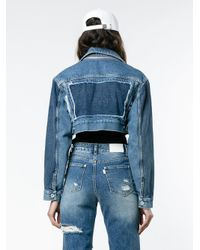 Off-White c/o Virgil Abloh Blue Cropped Denim Jacket With Zip