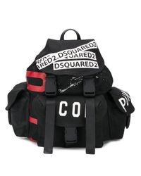 メンズ DSquared² ロゴ バックパック Black