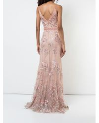 Marchesa notte エンブロダリー イブニングドレス Pink