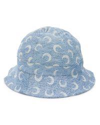 MARINE SERRE Blue Fischerhut mit Print