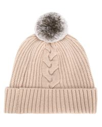 N.Peal Cashmere Natural Beanie mit Zopfmuster