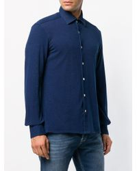 Kiton Blue Classic Denim Shirt for men