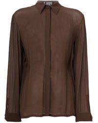 Versace Pre-Owned Brown Concealed Fastening Sheer Shirt