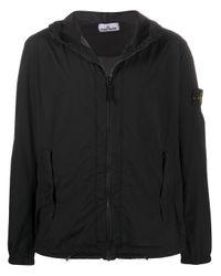 Stone Island Black Hooded Shell Jacket for men