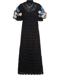 Miu Miu Black Openwork Crochet Midi-dress