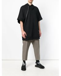 Lost and Found Rooms Black Zip Detail Oversized Hoodie for men