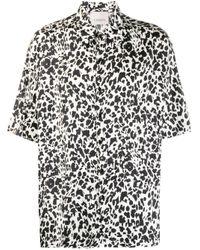 Laneus Black Leopard Print Short-sleeve Shirt for men