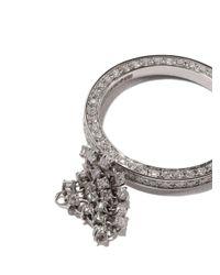Maison Dauphin - Metallic 18kt White Gold Full Pave Diamond Fluid Captured Ring - Lyst