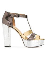 MICHAEL Michael Kors | Metallic Platform Buckled Sandals | Lyst