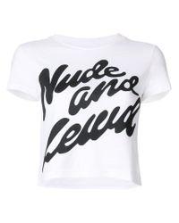House of Holland White Nude & Lewd Shrunken T-shirt