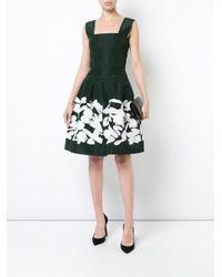 Oscar de la Renta Black Floral Flared Dress