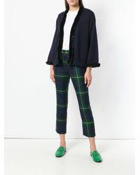 N.Peal Cashmere Blue Fur Trim Cardigan