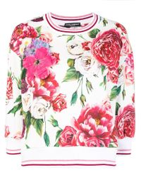 Dolce & Gabbana White Floral Fitted Sweatshirt