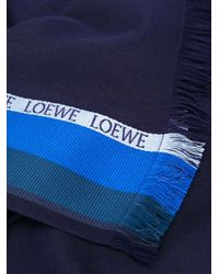 Loewe ロゴ ストライプスカーフ Blue