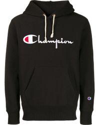 メンズ Champion ロゴ パーカー Black