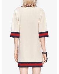 Gucci Natural Stretch Viscose Dress With Web Ivory