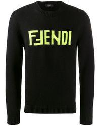 Jersey con logo bordado Fendi de hombre de color Black