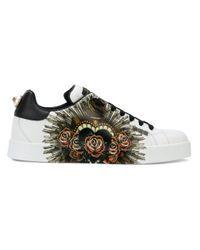 メンズ Dolce & Gabbana ポルトフィーノ ハートパッチ スニーカー Multicolor