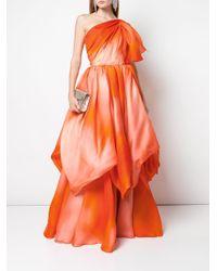 Vestido asimétrico con estampado tie-dye Isabel Sanchis de color Orange