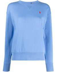 Polo Ralph Lauren Blue Embroidered Logo Crew-neck Sweatshirt