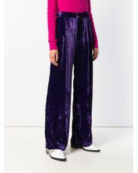 Erika Cavallini Semi Couture ベルベット ハイウエスト イージーパンツ Purple