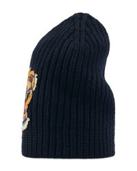 Gucci Blue Wool Hat With Tiger for men