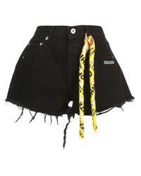 Off-White c/o Virgil Abloh Black Jeansshorts mit Schal
