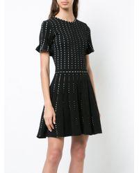 Oscar de la Renta Black Polka-dot Embroidered Knitted Mini Dress