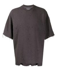 White Mountaineering Gray Distressed Short-sleeved T-shirt for men