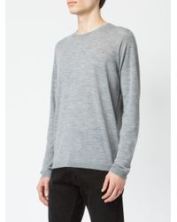 Roberto Collina Gray Classic Fitted Sweater for men