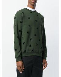 McQ Alexander McQueen Green Swallow Embellished Sweatshirt for men