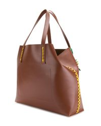 P.A.R.O.S.H. Brown Side Embellished Tote Bag