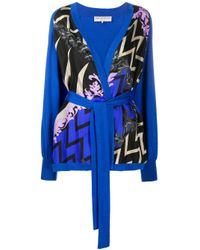 Emilio Pucci Blue X Koché Lupa Print Panel Cardigan