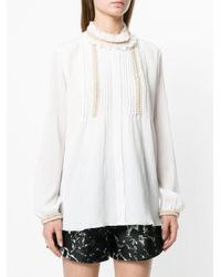 Chloé White Ruffle Neck Longline Blouse