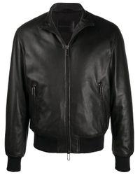 メンズ Emporio Armani ジップアップ レザージャケット Black