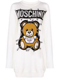 Moschino White Toy Bear Sweatshirt Dress