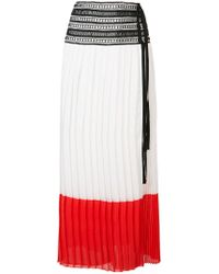 Oscar de la Renta - White Pleated Colour-block Skirt - Lyst