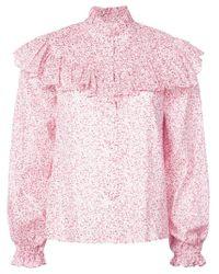 LoveShackFancy Pink Ruffled Shirt