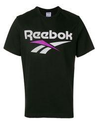 T-shirt a girocollo con stampa di Reebok in Black da Uomo