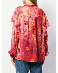 Blusa con volantes y estampado floral Blumarine de color Red