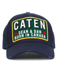 DSquared² Blue Caten Patch Baseball Cap for men