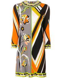 Emilio Pucci - Yellow Contrast-print Shift Dress - Lyst