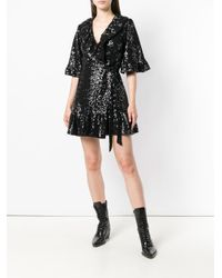 Amen Black Wrapped Short-sleeve Mini Dress