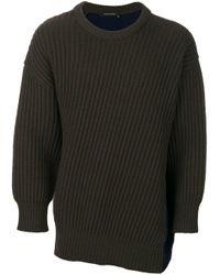 Cedric Charlier Green Colour-block Sweater for men
