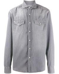 Джинсовая Рубашка С Эффектом Потертости Brunello Cucinelli для него, цвет: Gray