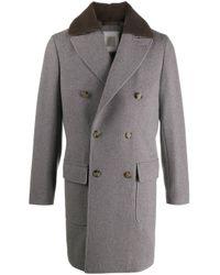 Manteau en cashmere à boutonnière croisée Eleventy pour homme en coloris Gray