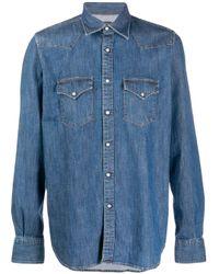 メンズ Eleventy デニムシャツ Blue