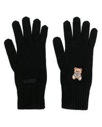 Moschino | Black Embroidered Teddy Gloves | Lyst