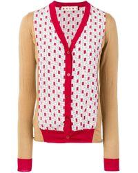 Marni Red Silk Inserts Cardigan